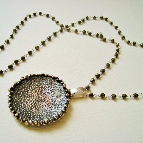 oxidized silver pendant with pyrite necklace