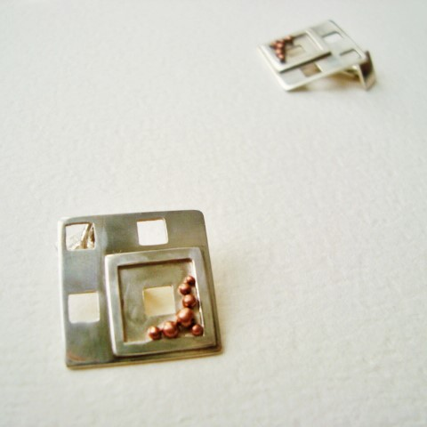 cufflinks in silver and copper