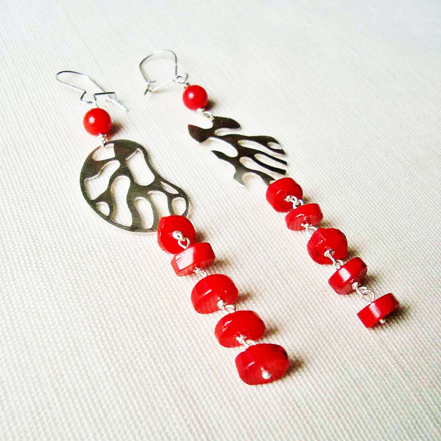 earings in silver and coral